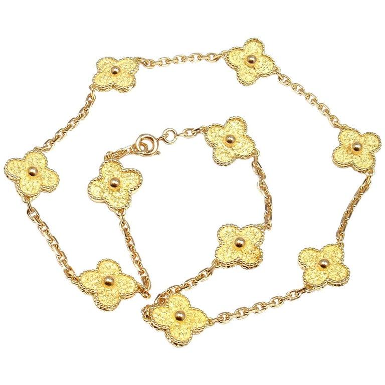 Van Cleef & Arpels Vintage Alhambra Ten Motif Gold Necklace For Sale