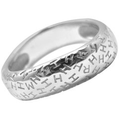 Hermes H Motif White Gold Band Ring
