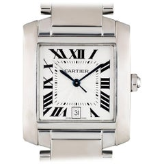 Cartier White Gold Guilloche Dial Tank Francaise automatic Wristwatch