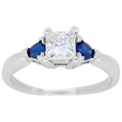 GIA Certified Princess Cut Diamond and Sapphire Three-Stone Engagement Ring