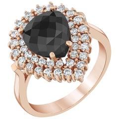 2.99 Carat Black Diamond 14 Karat Rose Gold Cocktail Ring