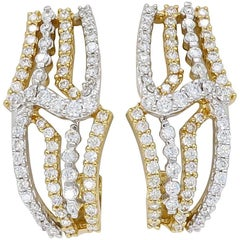 18 Karat Two-Tone Diamond Earrings