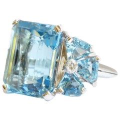 Aquamarine and Diamond Set Cocktail Ring