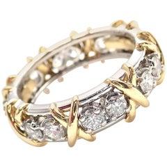 Tiffany & Co. Jean Schlumberger 16-Stone Diamond Gold Platinum Band Ring