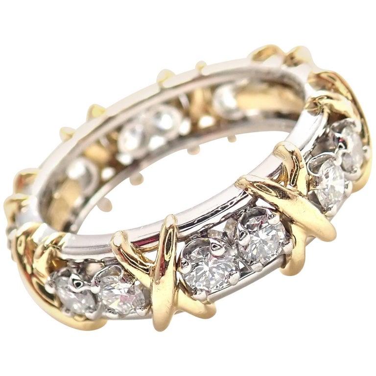 Tiffany & Co. Jean Schlumberger 16-Stone Diamond Gold Platinum Band Ring 1