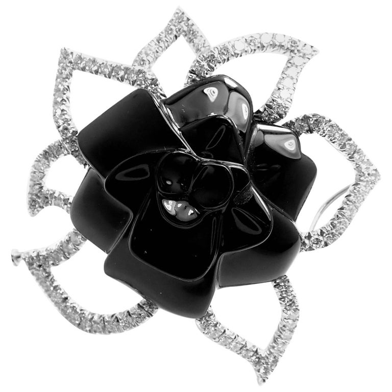 Chanel Camelia Camellia Flower Diamond Onyx White Gold Pin Brooch