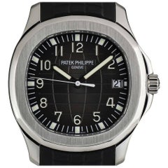 Patek Philippe Stainless Steel Jumbo Aquanaut Black Dial automatic Wristwatch