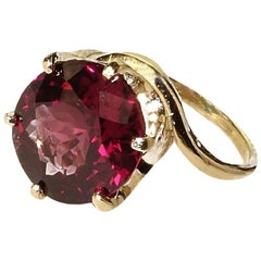 Large, Round Rhodolite Garnet in Yellow Gold Ring