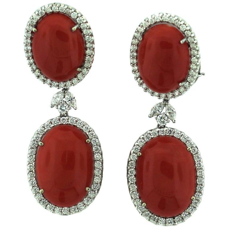 Italian Red Coral Diamond Gold Drop Earrings