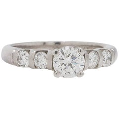 Modern Platinum Engagement Ring Certified 0.72ct Round Brilliant E-SI2