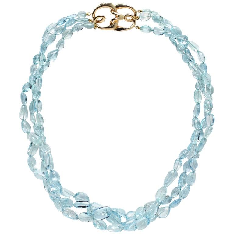 Julius Cohen Multistrand Aquamarine Necklace For Sale