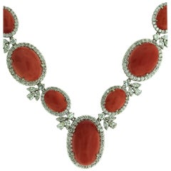 Italian Red Coral and Diamond Gold Necklace