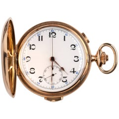 Solid 14 Karat Gold Chronograph Hunter Pocket Watch, circa 1910