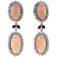 Angel Coral Diamond Gold Drop Earrings