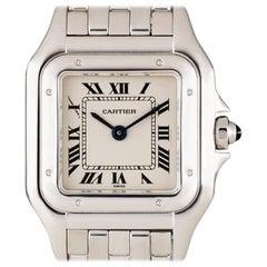 Cartier Ladies White Gold Panthere Roman Dial quartz Wristwatch