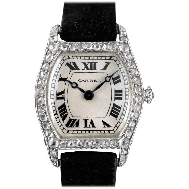 Cartier Platinum Diamond Art Deco Tortue Wristwatch, circa 1912