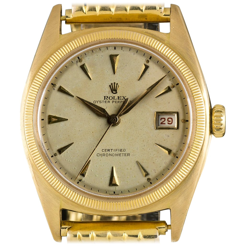 Rolex Yellow Gold Vintage Semi Bubble Back Oyster Perpetual Manual Wristwatch