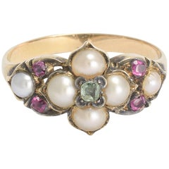 Victorian Pearl, Ruby and Emerald Ring with Concealed Hair Locket