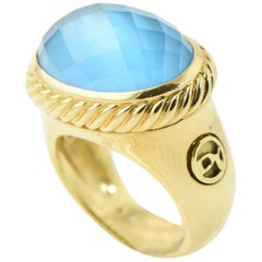 David Yurman Blue Topaz and Gold Signature Ring