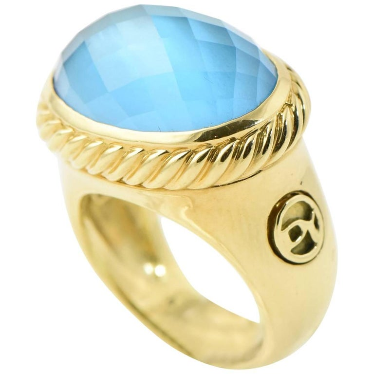 9c1caa36398f David Yurman Blue Topaz and Gold Signature Ring For Sale at 1stdibs