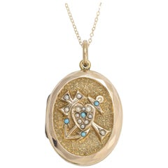 Victorian Faith, Hope and Charity Locket with Turquoise and Pearls