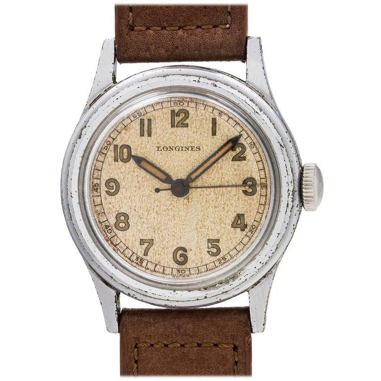 Longines stainless steel USN Buships Manual Wind Wristwatch, circa 1940s