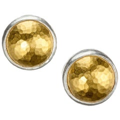 """Gurhan """"Amulet"""" Stud Earrings in 24 Karat Yellow Gold and Sterling Silver"""