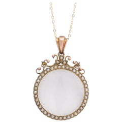 Early Victorian Seed Pearl Locket Necklace