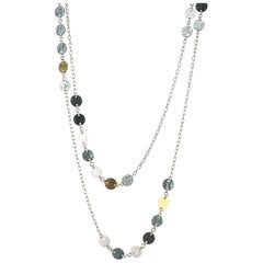 "Gurhan ""Lush"" Flake Necklace in Yellow Gold and Sterling Silver"