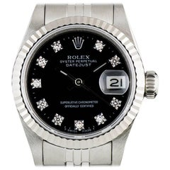 Rolex Ladies Stainless Steel Black Diamond Dial Datejust automatic Wristwatch