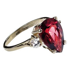 Pear Shape Rhodolite Garnet with Sapphires  Gold Ring