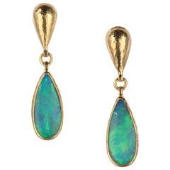 Gurhan Opal Drop Earrings in 24 Karat Yellow Gold