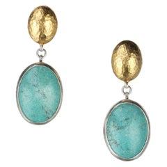 Gurhan Turquoise Drop Earrings in 24 Karat Yellow Gold