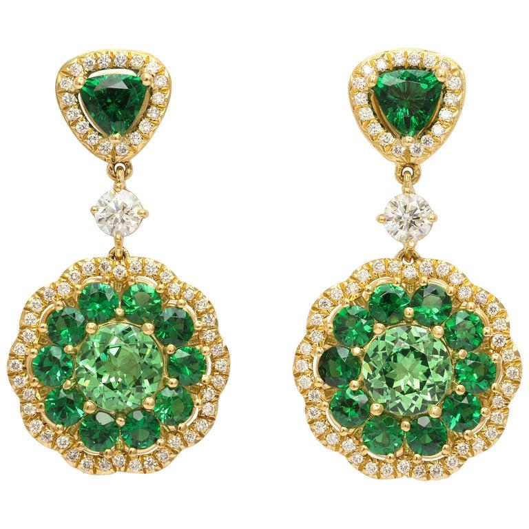 Donna Vock Tsavorite and Diamond Drop Earrings