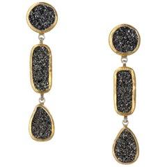 "Gurhan ""Mystere"" Drusy Quartz Drop Earrings in 24 Karat Yellow Gold and Sterling"
