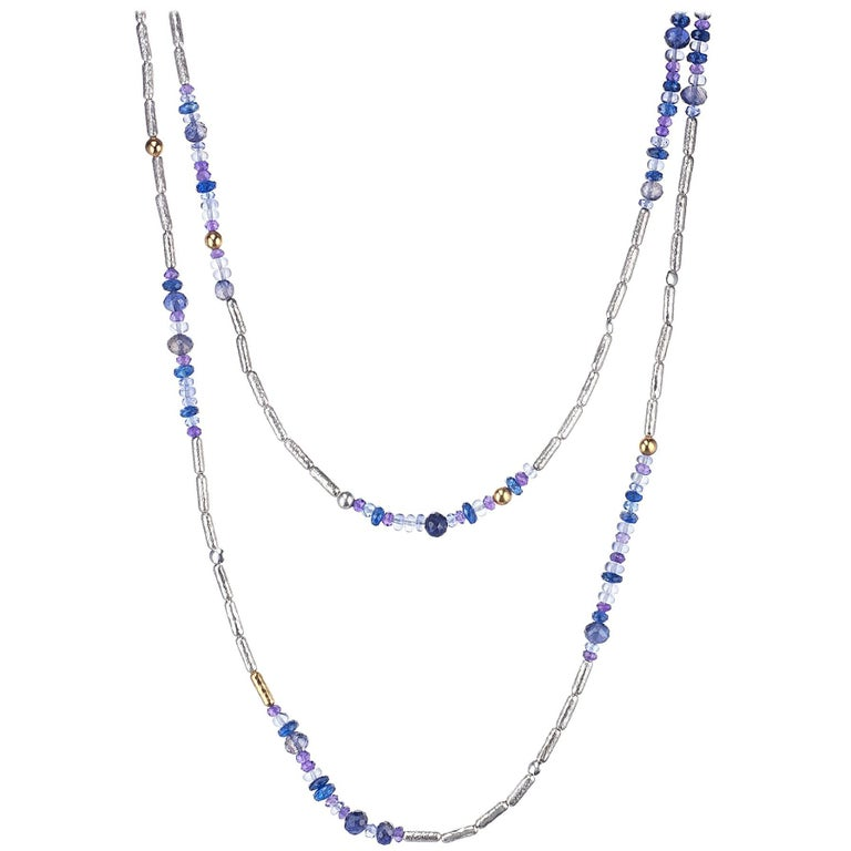"Gurhan ""Vertigo"" Tanzanite, Kyanite and Iolite Necklace in Gold and Silver 1"