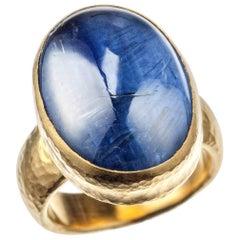 """Gurhan """"Amulet Hue"""" Kyanite Ring in 24 Karat Yellow Gold"""
