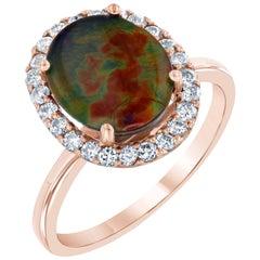 2.57 Carat Ammolite Diamond Rose Gold Ring