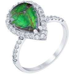 2.36 Carat Ammolite Diamond White Gold Ring