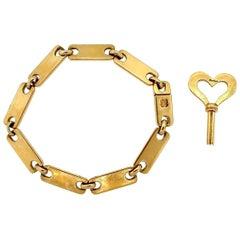 Vintage Cartier Midcentury Gold Link Bracelet with Key
