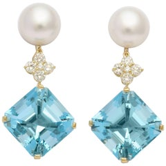 Donna Vock Aquamarine Pearl and Diamond Drop Clip on Earrings