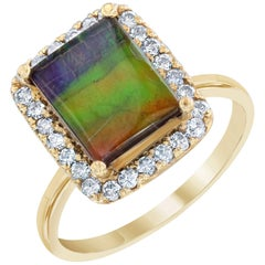 2.24 Carat Ammolite Diamond Yellow Gold Ring