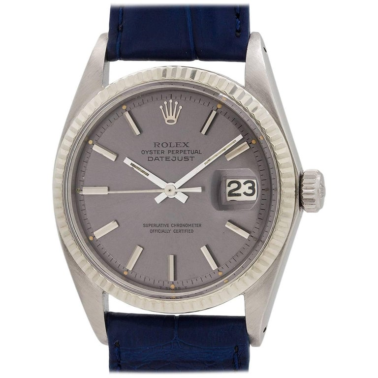Rolex Stainless Steel Datejust Wide Boy Self Winding Wristwatch Ref 1601