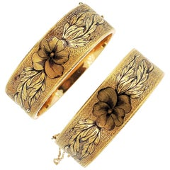 Antique Victorian 14k Gold Pair of Tracery Enamel Cuffs with Pansies