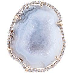 Karolin Rose Gold White Diamond White Agate Geode Cocktail Ring
