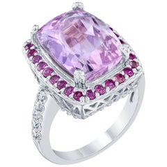 8.88 Carat Kunzite Diamond Cocktail White Gold Ring