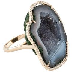 Karolin Rose Gold White Diamond Grey Agate Geode Cocktail Ring