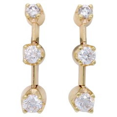 Three-Stone Drop Diamond Earrings