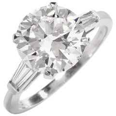 Classic 3.21 Carat Certified Diamond Platinum Baguette and Round Engagement Ring
