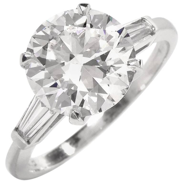 Classic 3.21 Carat Certified Diamond Platinum Baguette and Round Engagement Ring For Sale
